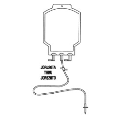 Bag, blood transfusion 300ml, 2 ports w/ tubing, sterile