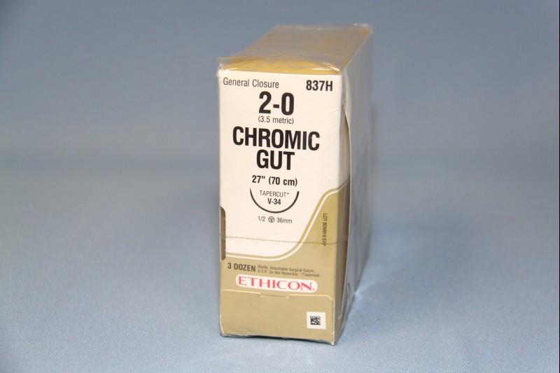 "SUTURE, CHROMIC GUT, 2-0, UR-6, 27"", 36/BX"