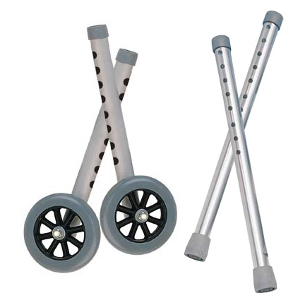 "Extended Height 5"" Walker Wheels and Legs Combo Pack, Gray , 5"" Size"