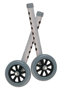 "5"" Walker Wheels with Two Sets of Rear Glides for Use with Universal Walker, Gray, 5"" Size"