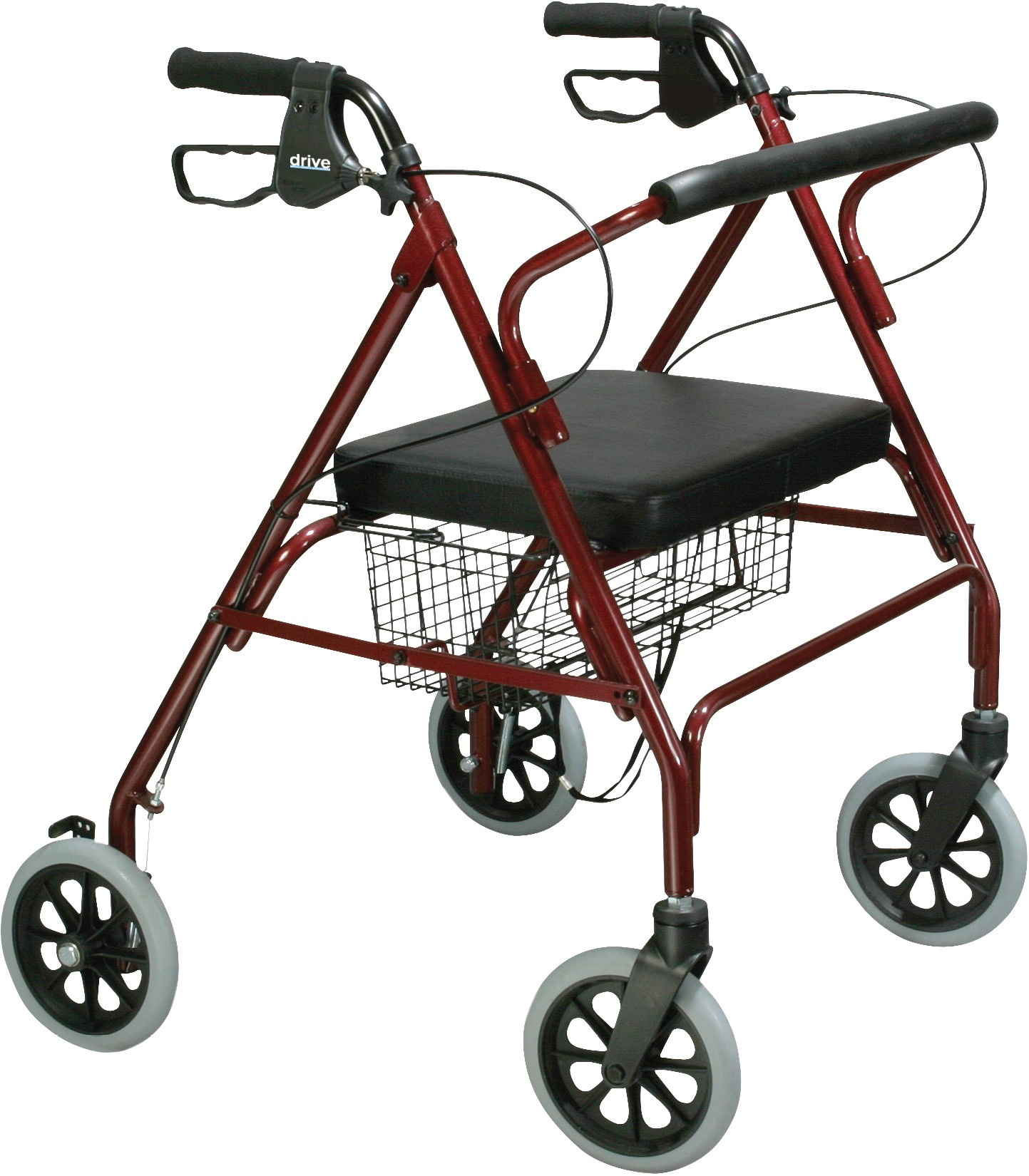Go Lite Padded Seat Rollator Walker with Loop Brakes, Blue ,  Size