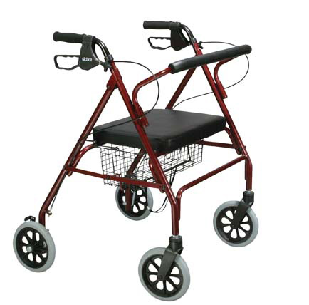 Heavy Duty Bariatric Rollator Walker with Large Padded Seat, Red,  Size