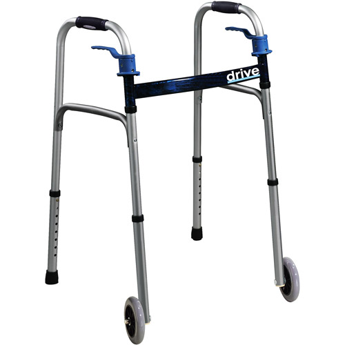 Trigger Release Folding Walker, Brushed Steel, Adult Size