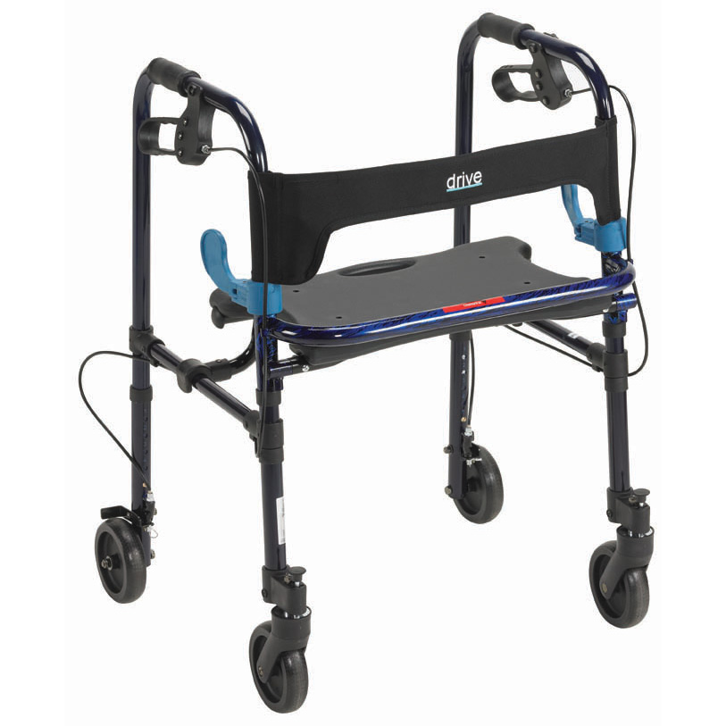 "Clever Lite Rollator Walker with 5"" Casters, Flame Blue , Adult  Size"