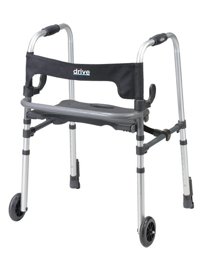 Clever-Lite LS Rollator Walker with Seat and Push Down Brakes, Gray ,  Size