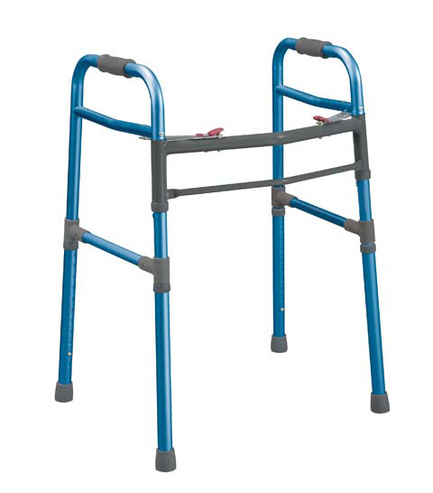 Two Button Folding Universal Walker, Blue , Adult / Junior  Size