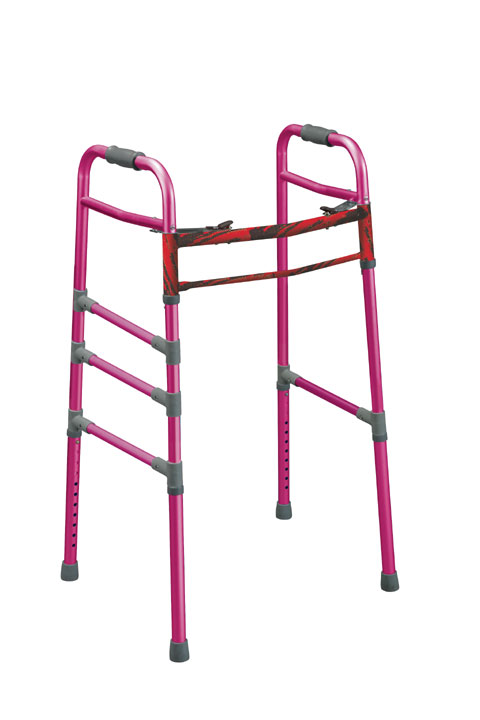 Two Button Folding Universal Walker, Pink , Adult / Junior  Size