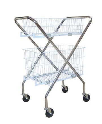 "Utility Cart with Baskets, Chrome , 30"" x 20"" x 39"" Size"