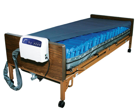 """Med Aire Low Air Loss Mattress Replacement System with Alarm, Blue, 8"""" Size"""