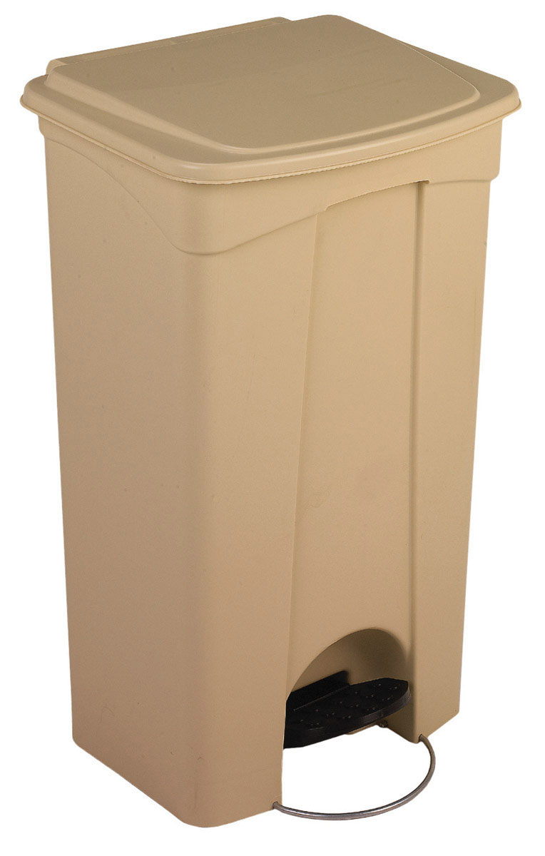 CAN,STEP-ON,23 GAL,MOBILE,PLASTIC,WHITE,EACH
