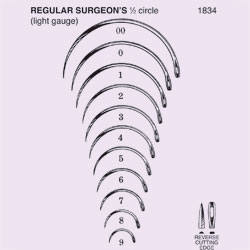NEEDLE,SUT,NON-STRL,REGULAR SURGEONS 1/2 CURVED CUTTING EDGE,SIZE 22,12/PK