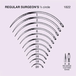 NEEDLE,SUT,NON-STRL,REGULAR SURGEONS 3/8 CIRCLE REVERSE CUTTING EDGE,SIZE 10,12/PK