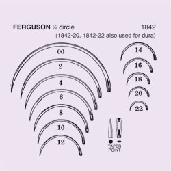 NEEDLE,SUT,NON-STRL,FERGUSON, 1/2 CIRCLE TAPER POINT (ROUND BODY),SIZE 18,12/PK