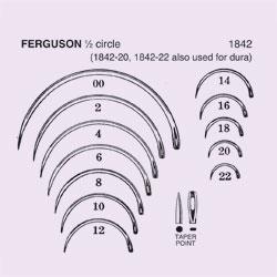 NEEDLE,SUT,STRL,FERGUSON, 1/2 CIRCLE TAPER POINT (ROUND BODY),SIZE 2,40/BX