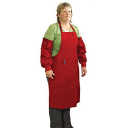 APRON,X LARGE APRON WITH SLEEVES - RED