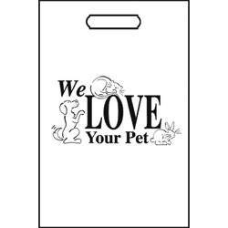 TOTES,100 TOTE BAGS/WHITE-WE LOVE YOUR PET