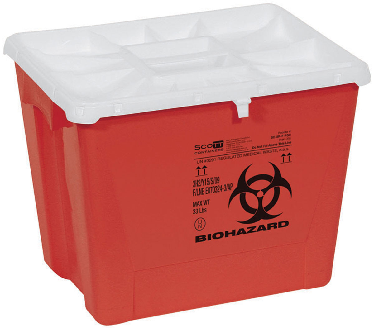 CONTAINER,SHARPS,18 GAL,RED,FLAT,PGII,7 EA/CS