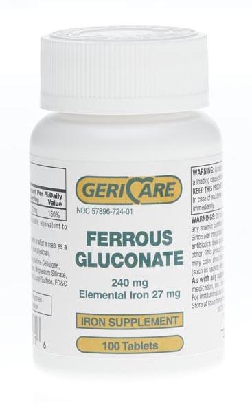 FERROUS GLUCONATE,TABLETS,100/BT(FERGON,EA