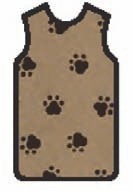 APRON, X-RAY, W/VELCRO, LARGE, BROWN, W/BLACK PAWS